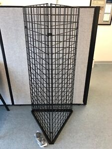Triangle Wire Grid Tower Display Rack Rolling Casters Black 25 W X 60 H