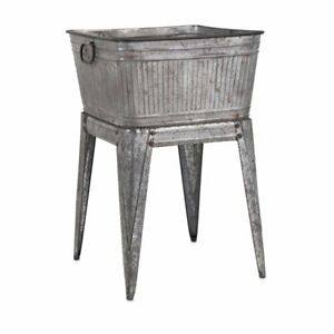 Beaumont Lane Galvanized Tub On Stand In Gray