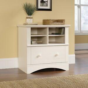 Sauder Antiqued White Lateral File Cabinet W Drawer Shelf