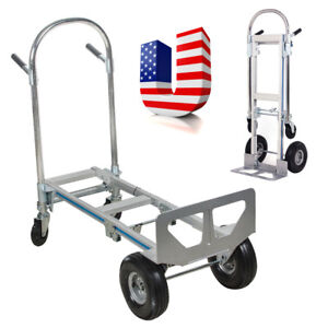 Professional 2in1 Aluminum Hand Truck 770lbs 51 Height Convertible Hand Truck S
