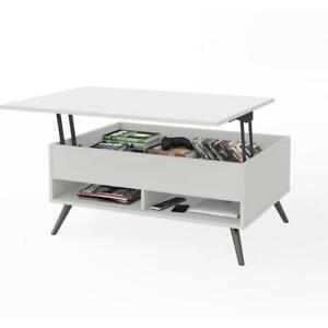 Bestar Small Space Krom 37 inch Lift top Storage Coffee Table In White