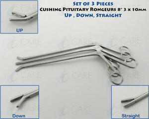 Set Of 3 Cushing Pituitary Rongeur 8 3x10 Mm Cup Up str down Care Instruments