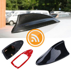 Universal Car Shark Fin Antenna Decor Roof Aerial With Signal Fm Am Carbon Fiber
