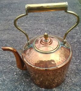 Genuine Large 12 Antique Hammered Copper Range Kettle With Pivot Handle Lot C