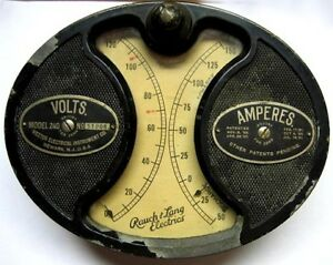 Early Rauch Lang Electric Car Volt Ampere Meter