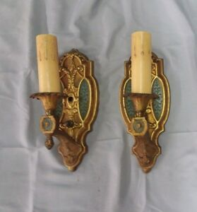 Pair Antique Decorative Vintage Brass Wall Light Sconce 125 18f