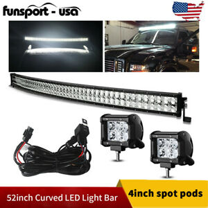 Curved 52inch Led Light Bar 700w Combo 2x 4 Pods Suv 4x4 Boat harness Offroad