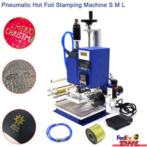 100 130mm Air Pneumatic Hot Foil Stamping 110v Embossing Press Marking Machine