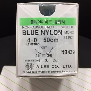 Korea Ailee Dental Surgical Suture Blue Nylon Usp 4 0 Ep1 5 50cm Nb439 24 Pkt