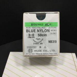 Korea Ailee Dental Surgical Suture Blue Nylon Usp 3 0 Ep2 50cm Nb319 24 Pkt