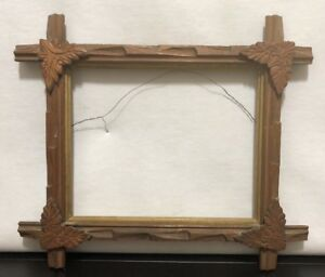 Vintage Adirondack Tramp Art Wood Criss Cross Picture Frame W Carved Leafs Gold