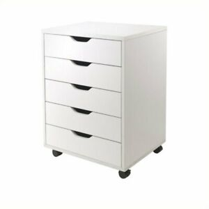 Scranton Co 5 Drawer Wood Mobile File Cabinet In White