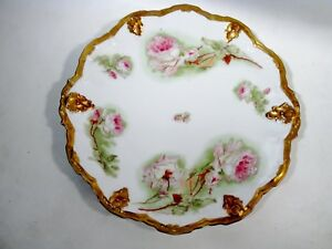 Antique Charger Large Pink Cabbage Roses Coronet Limoges Porcelain 13 25