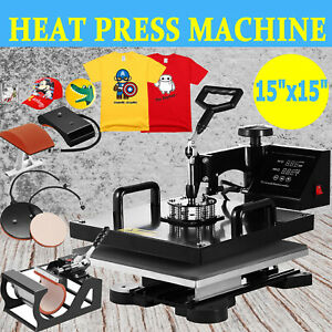 15 x15 T shirt Heat Press Machine Transfer Kit Sublimation Digital Swing Away
