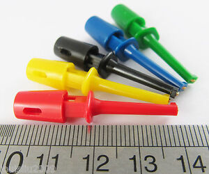 200 Pcs 5 Colors Grabbers Test Probes Single Hook Clip Round Small Size 43mm