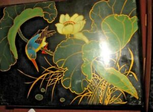 Vintage Japan Black Lacquer Wooden Jewelry Box Kingfisher Bird Rare 9 5 X 7