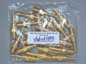 Hose Barb 1 4 Male Barb Swivel V2 1 4 Brass qty 20