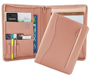 Leather Portfolio Document Organizer Professional Notepads Holder Pink