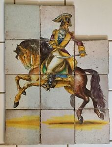 Antique 18th C Dutch Delft Tin Glaze Faience Wall Tile Picture Soldier Horse