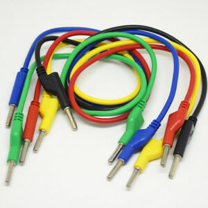 4sets 5 Colors 50cm Silicone High Voltage Dual 4mm Banana Plug Test Leads Cable