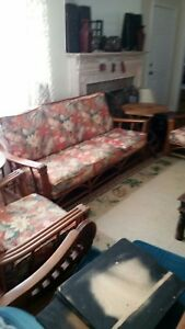 Mid Century Modern Upholstered Bamboo Sofa Matching Arm Chairs