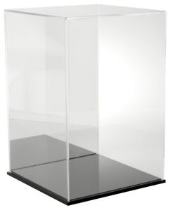 Plymor Acrylic Display Case With Black Base mirror Back 12 W X 12 D X 18 H