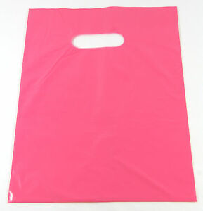 100 20 X 5 X 20 New Pink Glossy Low density Premium Plastic Merchandise Bags
