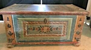 Local Pickup Antique Dowry Blanket Chest Probably Pa German C 1806 Lock Key