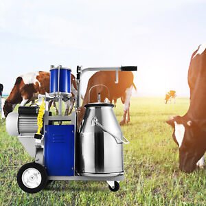 Electric Milking Machine For Farm Cows W bucket Adjustable 12cows hour Milker