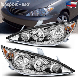 For 2005 2006 Toyota Camry Crystal Chrome Headlights Headlamps Assembly Pair Set
