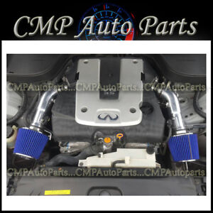 Black Blue Fit 2007 2008 Infiniti G35 3 5 3 5l Sedan Dual Twin Air Intake Kit