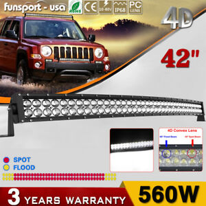 Led Light Bar 4d 32inch Curved 420w wiring Kit Offroad Driving Marine Boat Jeep