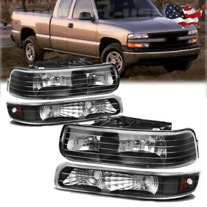 For 99 02 Silverado 00 06 Tahoe Suburban Headlights Headlamps Bumper Lamps Pair