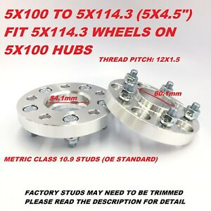 2pc 20mm Wheel Adapters Spacers 5x100 To 5x114 3 Hubcentric 54 1 To 60 1 Bore