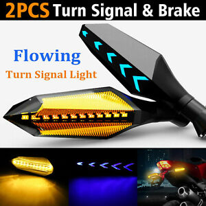 2x Motorcycle 12 led Turn Signal Lamp Sequential Flowing Indicator Lights Amber