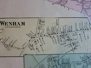 Wenham City Center Cove Village Essex County Mass 1872 Detailed Old Map