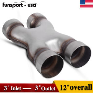 Universal Dual 3 In out Crossover X Pipe Exhaust Tip 12 Length Stainless Steel