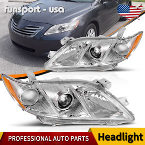 For 2007 2009 Toyota Camry Crystal Clear Amber Projector Headlights Headlamps