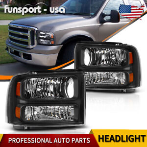For 05 07 Ford Super Duty Black Headlights Headlamps Pair Set Left
