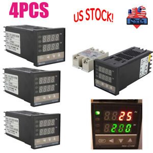 4 X Digital Pid Temperature Control 40a Ssr K Thermocouple 0 To 400 Us