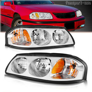 For 00 05 Chevy Impala Chrome Clear Amber Headlights Headlamps Assembly Pair Set