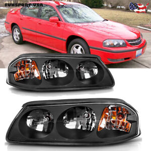 For 00 05 Chevy Impala Black Housing Amber Headlights Headlamps Assembly Pair Us