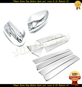 For 2013 2018 Nissan Altima 8pcs Chrome Door Pillars mirror Covers 2014 2015