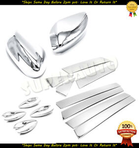 For 2013 2018 Nissan Altima 8pcs Chrome Door Pillars mirrors handle Bowl Covers