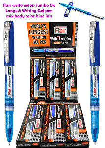 Flair Writo Meter Jumbo Dx Longest Writing Gel Pen Mix Body Color Blue Ink 30 Pc