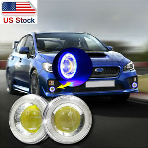 2 3 5 Cob Led Fog Light Projector Blue White Angel Eyes Halo Ring Driving Drl