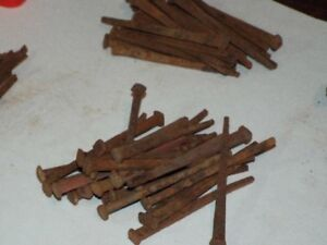 25 Antique Square 4 Inch Long Nails Rusty