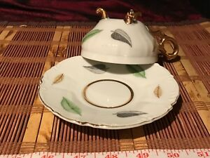 Porcelain Hand Painted Leaf Footed Tea Cup Saucer W Gold Edges