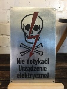 Vintage Warning Pewter Sign High Voltage Made In Poland Industrial Wall Plaque