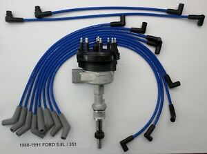 1988 1991 Ford 5 8l 351 Efi Distributor Blue Performance Spark Plug Wires Usa